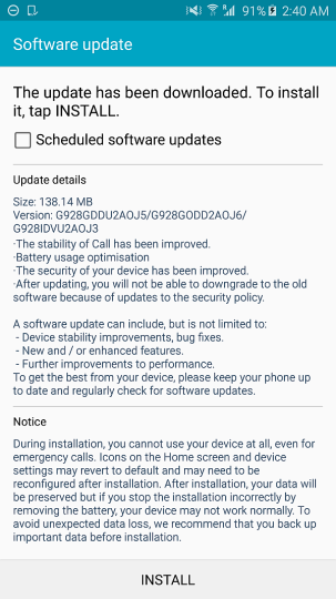 Samsung Galaxy S6 edge+ with its first update