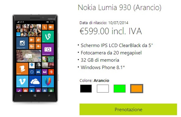 Nokia Lumia 930 goes official in Italy