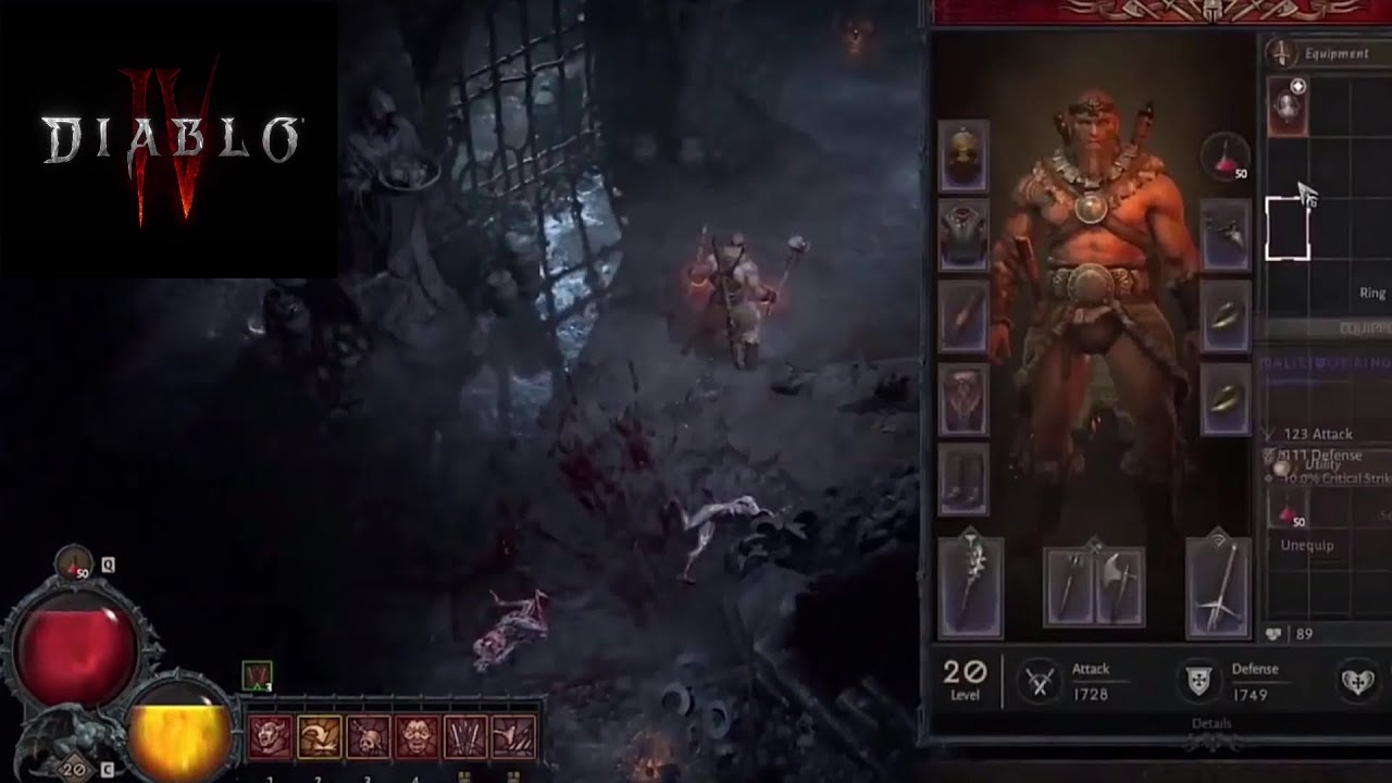 20 minutes long Diablo IV gameplay featuring the Barbarian