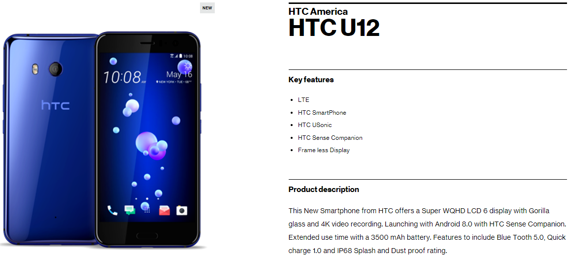HTC U12 listed on Verizon, some specs released