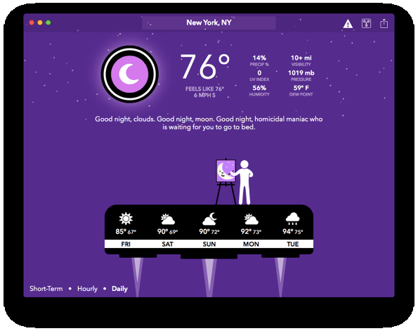 Carrot Weather will tell you how are things outside, you a**hole
