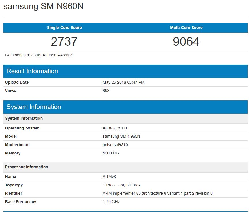 Samsung Galaxy Note 9 out on Geekbench