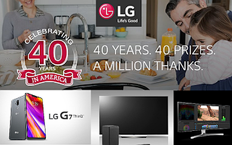 LG celebrates its 40th US anniversary by giving away 40 prizes