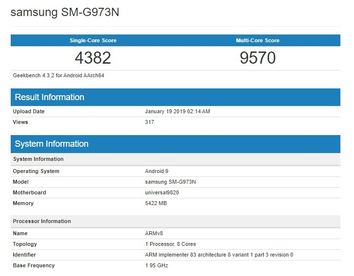 Samsung Galaxy S10 benchmarked