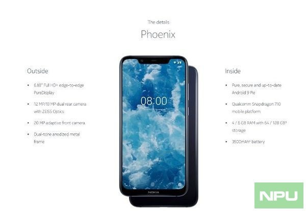 Official renders of Nokia 8.1
