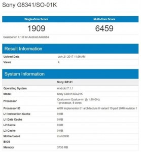 Sony Xperia XZ1 spotted on Geekbench