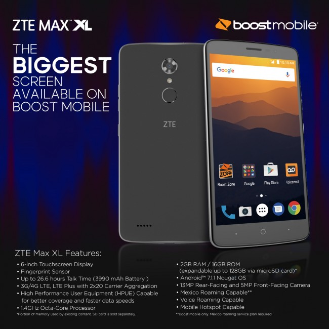 ZTE MAX XL - 6 inches for Sprint carriers