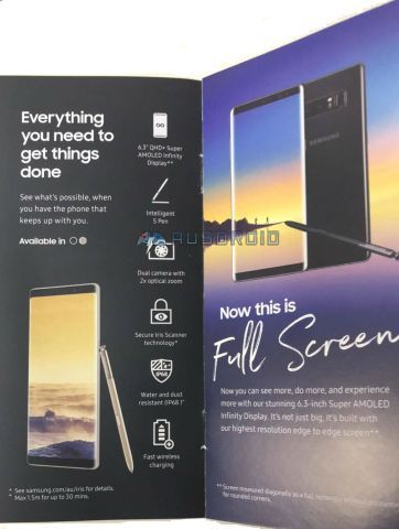 Galaxy Note 8 sales brochure leaks, confirms some information