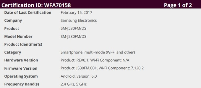New Samsung phone received a Wi-Fi alliance certificate. Samsung Galaxy J5 (2017), maybe?